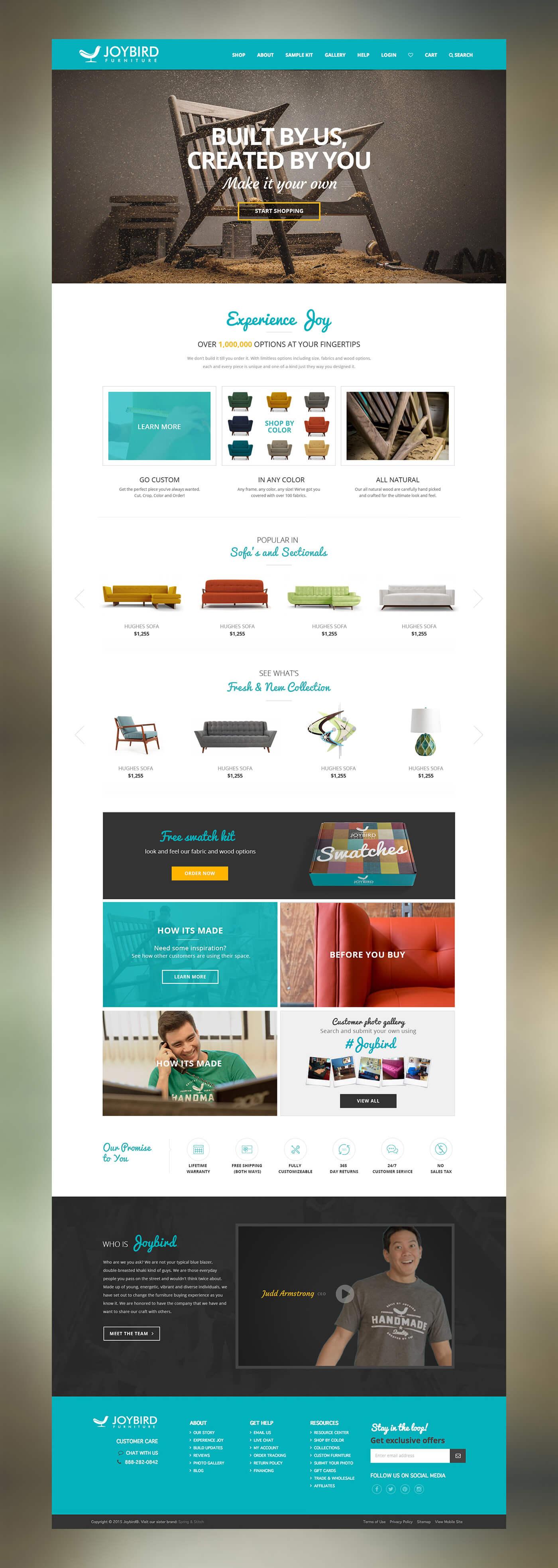 Joybird Furniture Website Homepage
