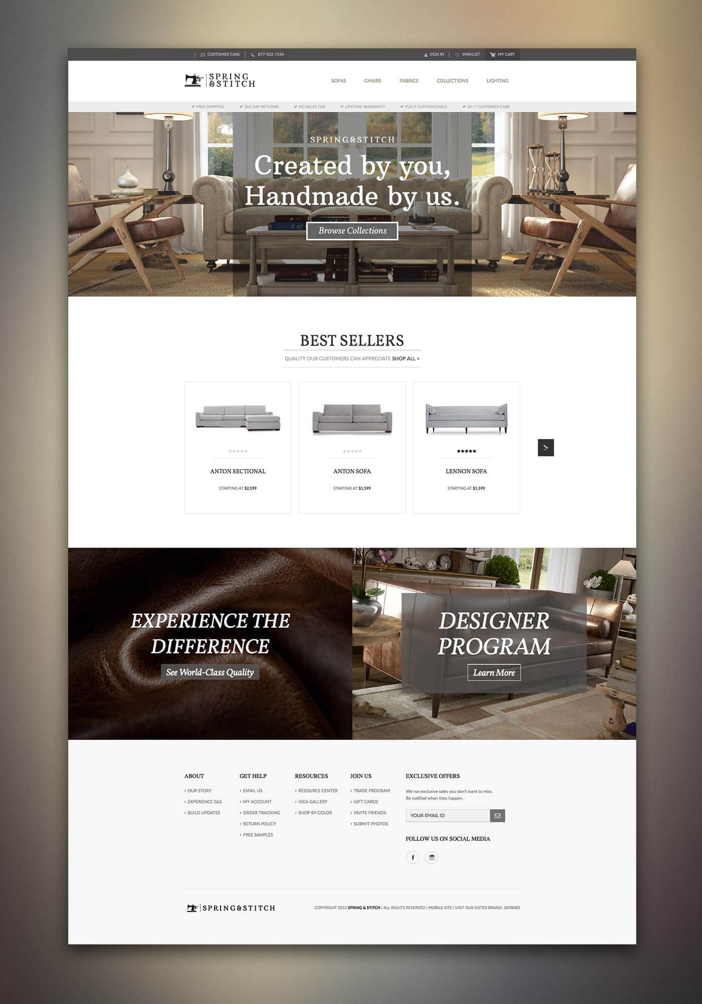 Spring and Stitch Furniture Website Design Homepage